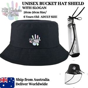 4 Years Old-Adults Black Bucket Hat with Clear Vinyl Faceshield | School Hat